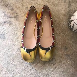 Gucci King Snake Gold Ballerina Flats size 6 1/2